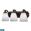 Bath And Spa 3 Light LED Vanity In Aged Bronze And Simple White Glass