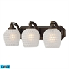 ELK lighting Bath And Spa 3 Light LED Vanity In Aged Bronze And White Glass