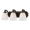 ELK lighting Bath And Spa 3 Light Vanity In Aged Bronze And White Swirl Glass