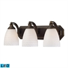 Bath And Spa 3 Light LED Vanity In Aged Bronze And White Swirl Glass