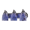 Bath And Spa 3 Light Vanity In Polished Chrome And Starburst Blue Glass