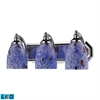 Bath And Spa 3 Light LED Vanity In Polished Chrome And Starburst Blue Glass