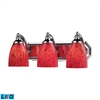 Bath And Spa 3 Light LED Vanity In Polished Chrome And Fire Red Glass