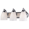 Bath And Spa 3 Light Vanity In Polished Chrome And Snow White Glass