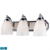 Bath And Spa 3 Light LED Vanity In Polished Chrome And Snow White Glass