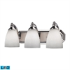 Bath And Spa 3 Light LED Vanity In Polished Chrome And Simple White Glass