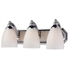 Bath And Spa 3 Light Vanity In Polished Chrome And White Swirl Glass