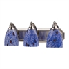 Bath And Spa 3 Light Vanity In Satin Nickel And Starburst Blue Glass