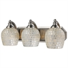 Bath And Spa 3 Light Vanity In Satin Nickel And Silver Glass
