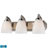 ELK lighting Bath And Spa 3 Light LED Vanity In Satin Nickel And White Swirl Glass