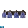 Bath And Spa 4 Light LED Vanity In Aged Bronze And Starburst Blue Glass