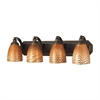 Bath And Spa 4 Light Vanity In Aged Bronze And Cocoa Glass