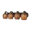 ELK lighting Bath And Spa 4 Light Vanity In Aged Bronze And Multi Fusion Glass