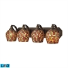 ELK lighting Bath And Spa 4 Light LED Vanity In Aged Bronze And Multi Fusion Glass