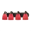 ELK lighting Bath And Spa 4 Light Vanity In Aged Bronze And Scarlet Red Glass