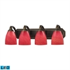 ELK lighting Bath And Spa 4 Light LED Vanity In Aged Bronze And Scarlet Red Glass