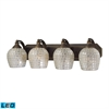 Bath And Spa 4 Light LED Vanity In Aged Bronze And Silver Glass