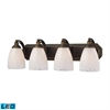 ELK lighting Bath And Spa 4 Light LED Vanity In Aged Bronze And Snow White Glass