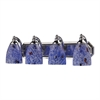 ELK lighting Bath And Spa 4 Light Vanity In Polished Chrome And Starburst Blue Glass