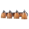 ELK lighting Bath And Spa 4 Light Vanity In Polished Chrome And Cocoa Glass