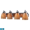 ELK lighting Bath And Spa 4 Light LED Vanity In Polished Chrome And Cocoa Glass