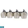 ELK lighting Bath And Spa 4 Light LED Vanity In Polished Chrome And Silver Glass