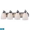 Bath And Spa 4 Light LED Vanity In Polished Chrome And Snow White Glass