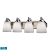 Bath And Spa 4 Light LED Vanity In Polished Chrome And Simple White Glass