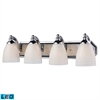 Bath And Spa 4 Light LED Vanity In Polished Chrome And White Swirl Glass