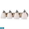 ELK lighting Bath And Spa 4 Light LED Vanity In Satin Nickel And Snow White Glass