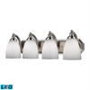 Bath And Spa 4 Light LED Vanity In Satin Nickel And Simple White Glass
