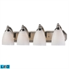 Bath And Spa 4 Light LED Vanity In Satin Nickel And White Swirl Glass