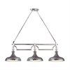 Rutherford 3 Light Island In Weathered Zinc And Polished Nickel