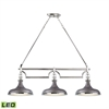 Rutherford 3 Light LED Island In Weathered Zinc And Polished Nickel