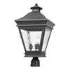Landings Outdoor Post Lantern In Charcoal And Water Glass
