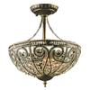 Elizabethan 3 Light Semi Flush In Dark Bronze
