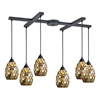 ELK lighting Trego 6 Light Pendant In Dark Rust