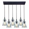Menlow Park 6 Light Pendant In Oiled Bronze