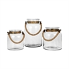 Pomeroy Calico Set of 3 Lanterns, Clear,Burned Copper