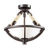 Natural Rope 2 Light Semi Flush In Aged Bronze