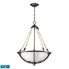 Natural Rope 3 Light LED Pendant In Aged Bronze