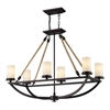 ELK lighting Natural Rope 6 Light Chandelier In Aged Bronze And White Glass