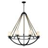 ELK lighting Natural Rope 8 Light Chandelier In Aged Bronze And White Glass