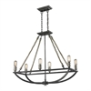 ELK lighting Natural Rope 6 Light Chandelier In Silvered Graphite With Polished Nickel Accents