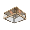 Parameters 2 Light Flush In Satin Brass With Clear Glass