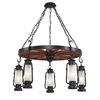 ELK lighting Chapman 5 Light Chandelier In Matte Black And Acid Etched Glass