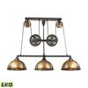 ELK lighting Torque 3 Light LED Island In Vintage Rust And Brass