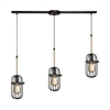 Binghamton 3 Light Linear Bar Pendant In Oil Rubbed Bronze And Satin Brass