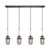 Binghamton 4 Light Linear Pan Pendant In Oil Rubbed Bronze And Satin Brass