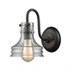 Binghamton 1 Light Wall Sconce In Oil Rubbed Bronze With Clear Glass